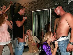 4 movies - Hot clothed babes love pleasuring the horny men at party