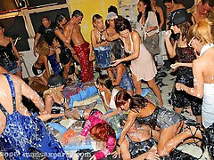 16 pictures - Insane partygoers sucking and fucking in a foamy group sex