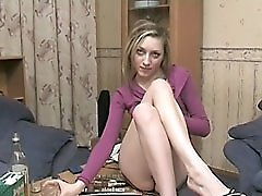 3 movies - Sloppy drunk chick fingering her pussy