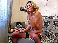 3 movies - Blond girl drinking beer and masturbating hardly